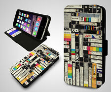 Cassette Tape Collection Retro VHS VFS Gift Leather Wallet Flip Phone Case Cover