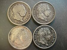 Four (4) 1816 Great Britain George III Sterling Silver Shillings. F-XF Details.