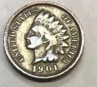 1901  INDIAN HEAD CENT  ****  NICE CIRCULATED COIN - L@@K AT PICTURES!!!!!  #469