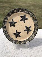 Liberty Pottery Candle Plate Black Beige Spongeware Becky Roscoe Village 2004