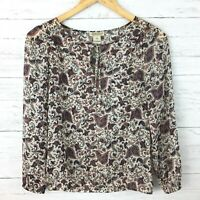Lucky Brand Women's Ivory Purple Print Top Lightweight Peasant Blouse XS