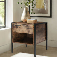 Industrial Nightstand Side Table Storage Drawer Retro Rustic Bedside Cabinet UK