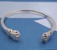 Pure S999 Sterling Silver Bangle Women Men 12mm Smooth Double Fist  Bracelet