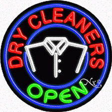 "Brand New ""Dry Cleaners Open"" 26x26x3 Round Real Neon Business Sign 11140"