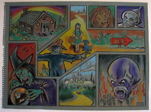 WIZARD Of OZ COLLAGE Original PASTEL DRAWING by Artist Bennett Dorothy Witch