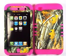 Hybrid Hard Cover Case + Apple iPod iTouch 4 4th Camo Mossy Oak Branch on Pink