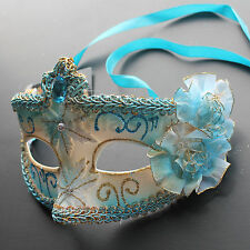 Aqua Blue Floral Venetian Masquerade Mask Party Prom Wedding Halloween Costume