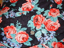 Vintage Cotton Blend Fabric LARGE ROSES ON NAVY BLUE 1 Yd