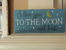 I Love You To the Moon and Back Baby Nursery Boys Girls Bedroom Sign Decoration