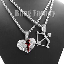 "Pendant 24"" Rope Chain Hip Hop Necklace Iced Cupid Bow And Arrow & Broken Heart"