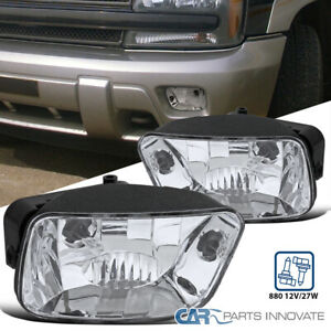 For 02-09 Chevy Trailblazer Clear Fog Lights Front Driving Bumper Lamps+880 Bulb