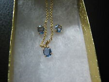 Earrings Pendant Trio Yogo Sapphire 14kt Yellow AAA Quality September Birthstone