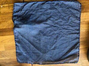Massimo Dutti Pocket Square blue white polka dots cotton/silk handkerchief NWT