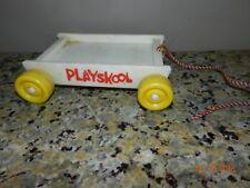 Vintage Playskool Pull Toy Wagon white yellow wheels