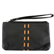 SILVERFEVER Cowhide Leather Wristlet Purse Wallet Whipstitched Detail Black Tan