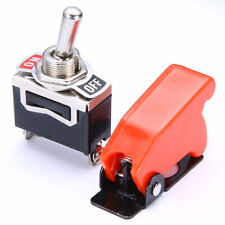 New Durable ON/OFF SPST Toggle Switch Metal Lever Car Dash Light+Missile Cover