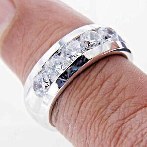 4Ct White Round Diamond Men's Engagement Wedding Ring In Solid 14K White Gold