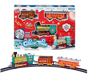 Kids Christmas Train Set 11 Piece Light Sound Toy Xmas Gift Deluxe Classic Tree