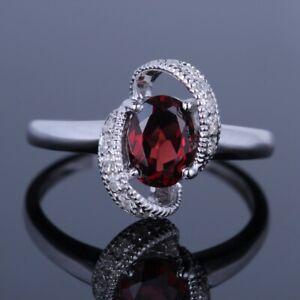 Oval Cut Genuine Garnet&Diamonds Vintage Engagement Wedding Ring 14K White Gold