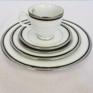 = Noritake Austin Platinum 5 PC Plate Dinner SET 91988C Service For 1 NEW