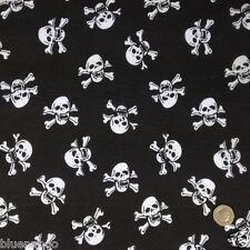 Black & white skulls & crossbones fabric POLYCOTTON 112cm wide PER HALF METRE