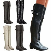 Women Lady Winter Low Heel Over Knee Buckle Zip Thigh High Knee Long Boots Size