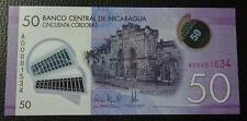 NICARAGUA BANKNOTE 50 Cordobas, Pick New UNC 2015 (Polymer Plastic)