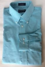 Stafford Men Long Sleeve Dress Shirt Turquoise Blue 17 Oxford