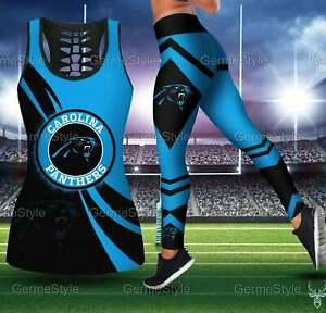Carolina Panthers Women's Tank Top Leggings 2PCS High Waist Stretch Yoga Pants