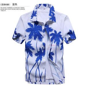 US Men's Hawaiian Shirt Summer Floral Printed Beach Short Sleeve Tops Blouse 2XL