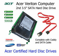 "500GB Acer Veriton M2610 2nd 3.5"" SATA Hard Disc Drive (HDD) AGGIORNAMENTO CON CADDY"