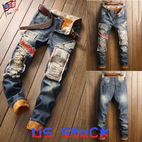 Fashion Men Ripped Jeans Frayed Pants Patch Fluffy Trouser Warm Hip Hop Biker US