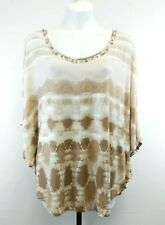 Ruby Rd. Women Shirt, Size Large, brown, white, beaded, rayon, spandex
