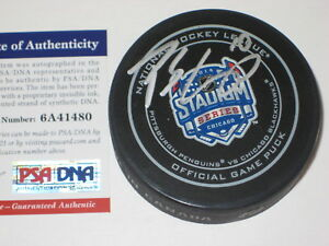 PATRICK SHARP (Hawks) Signed 2014 STADIUM SERIES Official GAME Puck w/ PSA COA