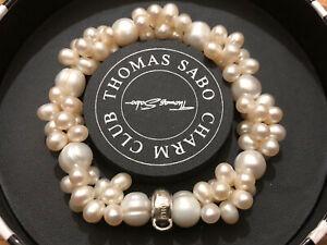 Genuine Thomas Sabo Charm Club Size M Freshwater Pearl Cluster Bracelet Box Bag