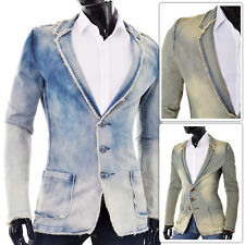 MENS Denim Blazer Jacket D&R Fashion | Frayed Edges Wash Look | FREE & FAST POST