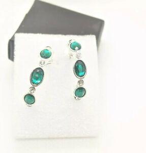 Earrings - Hoop Silver Tone Emerald Colored Stones Butterfly Back