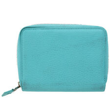 Authentic Tiffany & Co Zipper Bifold Wallet Purse Leather Blue Italy 06Q391