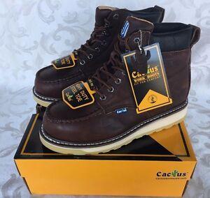 "Cactus Men Dark Brown 6"" Leather Work Boots Oil Resistant 627MS STEEL TOE"
