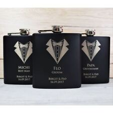 Personalised Engraved Wedding Hip Flask Tuxedo - Usher, Best Man, Groom Gifts