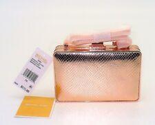 Michael Kors Clutch Box Shoulder Purse Handbag Pearl Soft Pink Leather Womens NS