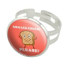 Grilled Cheese Please Sandwich Funny Humor Silver Plated Adjustable Novelty Ring