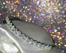 925 Sterling Silver Opal And White Topaz Bangle