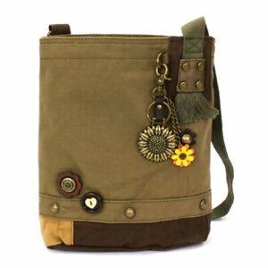 New Chala Patch Crossbody Messenger Olive Green Bag Canvas METAL SUNFLOWER