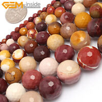 "Natural Gemstone Mookaite Jasper Round Loose Beads For Jewellery Making 15"" UK"