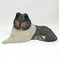 Vintage Sandicast Collie Dog Figure Signed Sandra Brue 1984 FLAWS