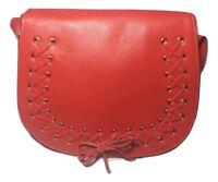 Violetta Orange Leather Saddle Bag Crossbody Large Shoulder Bag
