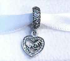 Pandora Center of My Heart Mom Dangle Charm #791521CZ +Gift Packaging +Pouch
