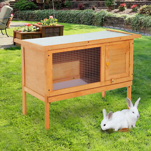 PawHut Rabbit Hutch Bunny Cage Guinea Pig Elevated House Wood Outdoor Garden