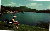 Vintage Postcard - Lake Placid Mirror Lake Public Park New York NY #1810